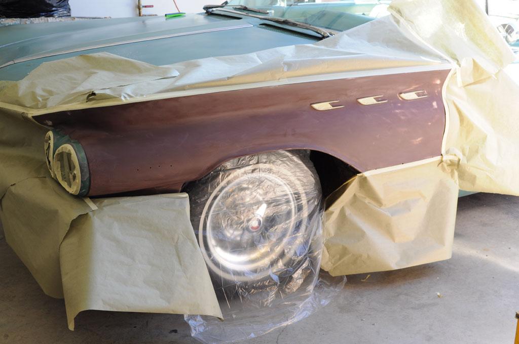 fenders ready for re spray restoration of a 1960. Black Bedroom Furniture Sets. Home Design Ideas