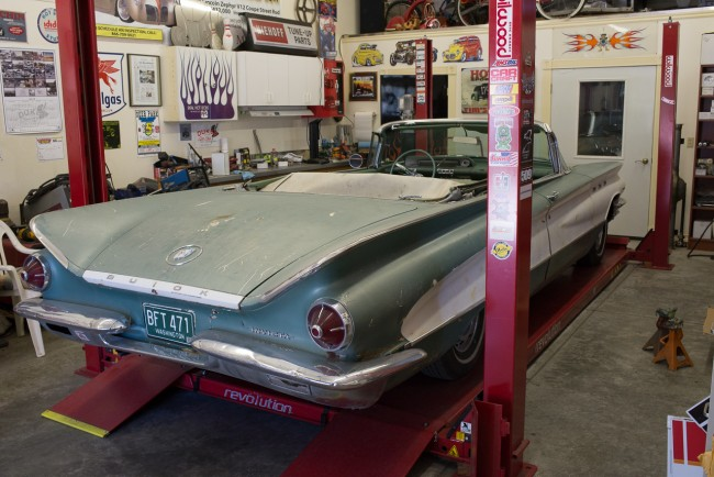 The Buick on the lift and ready for new exhaust.